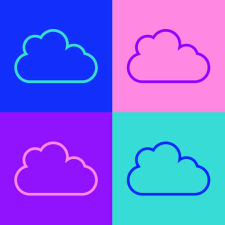 Pop art line Cloud icon isolated on color background. Vector
