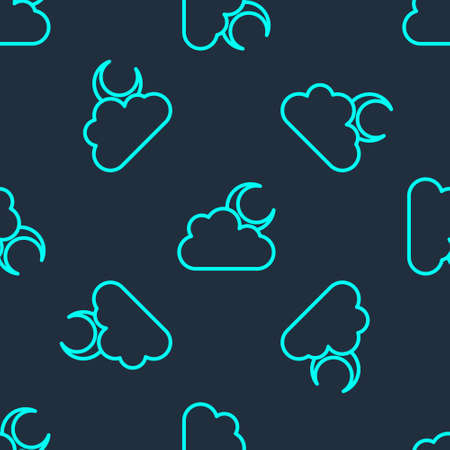 Green line Cloud with moon icon isolated seamless pattern on blue background. Cloudy night sign. Sleep dreams symbol. Night or bed time sign. Vector