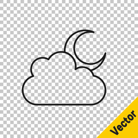 Black line Cloud with moon icon isolated on transparent background. Cloudy night sign. Sleep dreams symbol. Night or bed time sign. Vector