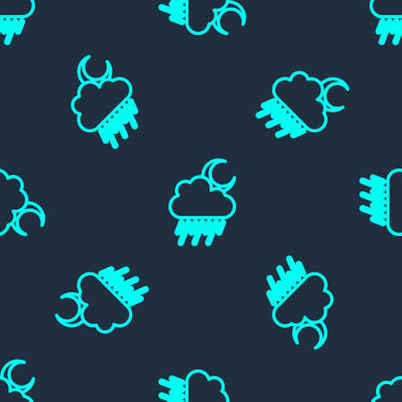 Green line Cloud with rain and moon icon isolated seamless pattern on blue background. Rain cloud precipitation with rain drops. Vector Vettoriali