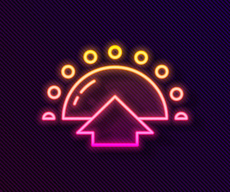 Glowing neon line Sunrise icon isolated on black background. Vector