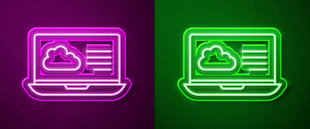 Glowing neon line Weather forecast icon isolated on purple and green background. Vector Vettoriali