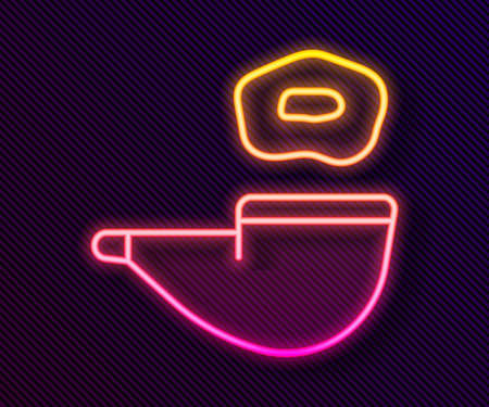 Glowing neon line Smoking pipe with smoke icon isolated on black background. Tobacco pipe. Vector