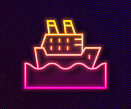 Glowing neon line Cruise ship in ocean icon isolated on black background. Cruising the world. Vector