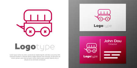 Logotype line Wild west covered wagon icon isolated on white background.