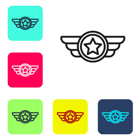 Black line Star American military icon isolated on white background. Military badges. Army patches. Set icons in color square buttons. Vector Иллюстрация
