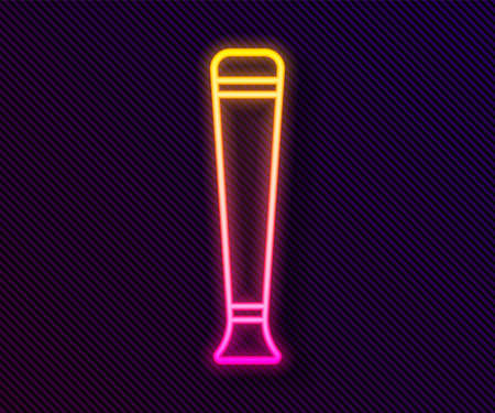 Glowing neon line Police rubber baton icon isolated on black background. Rubber truncheon. Police Bat. Police equipment. Vector