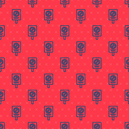 Blue line Protest icon isolated seamless pattern on red background. Meeting, protester, picket, speech, banner, protest placard, petition, leader, leaflet. Vector