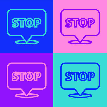 Pop art line Protest icon isolated on color background. Meeting, protester, picket, speech, banner, protest placard, petition, leader, leaflet. Vector