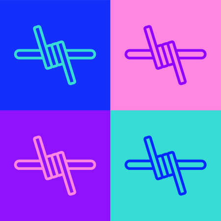Pop art line Barbed wire icon isolated on color background. Vector