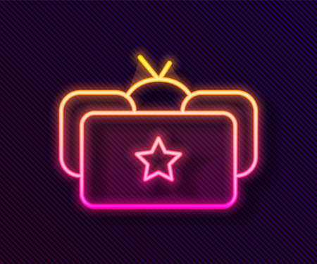 Glowing neon line Ushanka icon isolated on black background. Russian fur winter hat ushanka with star. Soviet Union uniform of KGB and NKVD. Vector