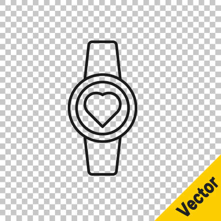 Black line Smartwatch icon isolated on transparent background. Vector