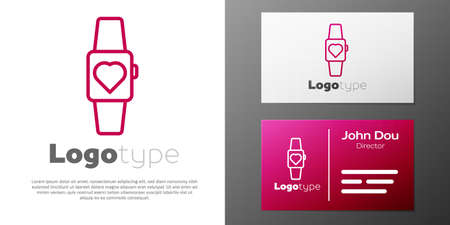 Logotype line Smartwatch icon isolated on white background. design template element. Vector