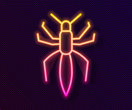 Glowing neon line Spider icon isolated on black background. Happy Halloween party. Vector Stock Illustratie