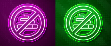Glowing neon line No Smoking icon isolated on purple and green background. Cigarette symbol. Vector