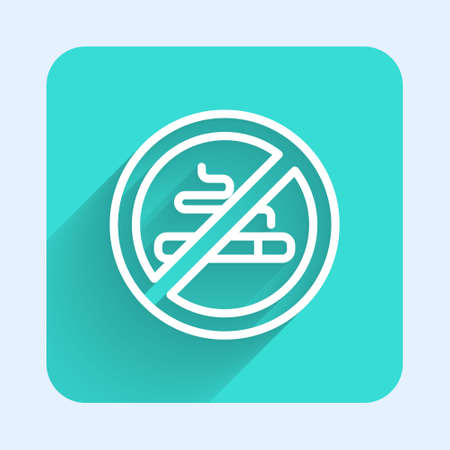 White line No Smoking icon isolated with long shadow. Cigarette symbol. Green square button. Vector