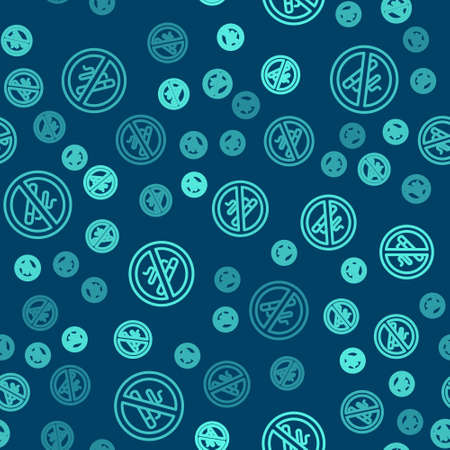 Green line No Smoking icon isolated seamless pattern on blue background. Cigarette symbol. Vector
