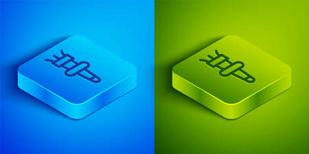 Isometric line Torch flame icon isolated on blue and green background. Symbol fire hot, flame power, flaming and heat. Square button. Vector