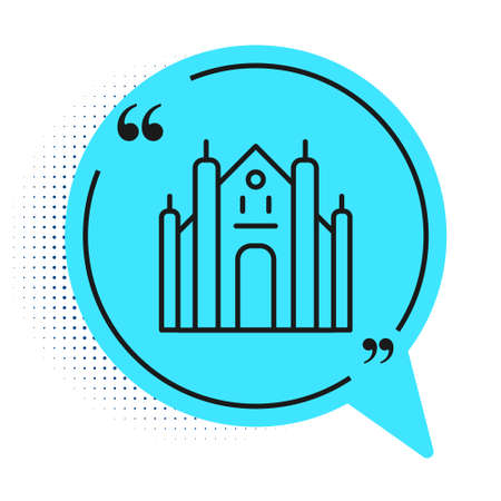 Black line Milan Cathedral or Duomo di Milano icon isolated on white background. Famous landmark of Milan, Italy. Blue speech bubble symbol. Vector