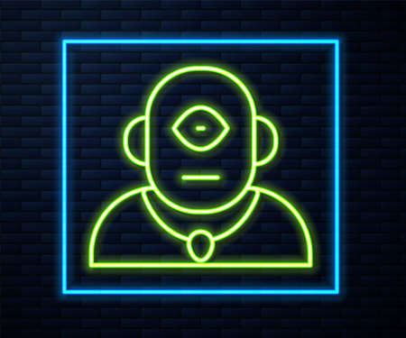 Glowing neon line Cyclops icon isolated on brick wall background. Vector Illustration