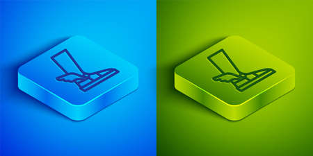 Isometric line Hermes sandal icon isolated on blue and green background. Ancient greek god Hermes. Running shoe with wings. Square button. Vector Illustration