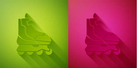 Paper cut Roller skate icon isolated on green and pink background. Paper art style. Vector Illustration
