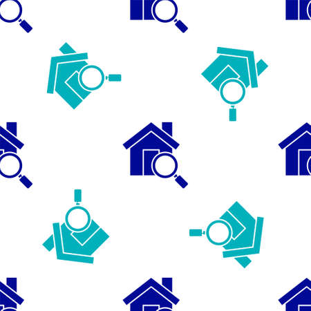 Blue Search house icon isolated seamless pattern on white background. Real estate symbol of a house under magnifying glass. Vector Illustration