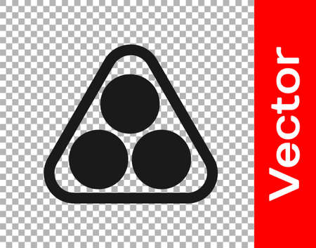 Black Billiard balls in a rack triangle icon isolated on transparent background. Vector Illustration