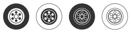 Black Alloy wheel for a car icon isolated on white background. Circle button. Vector Illustration Vettoriali
