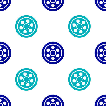 Blue Alloy wheel for a car icon isolated seamless pattern on white background. Vector Illustration Vettoriali