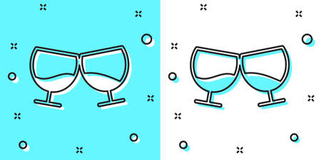Black line Glass of cognac or brandy icon isolated on green and white background. Random dynamic shapes. Vector Illustration