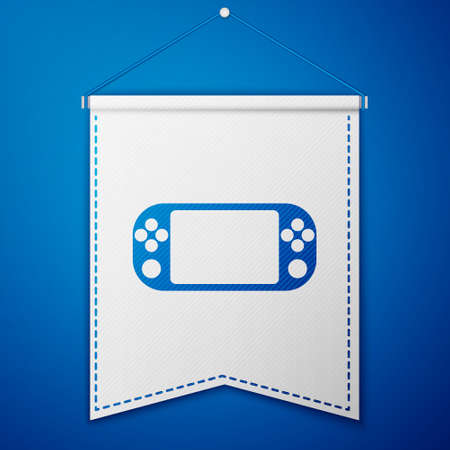 Blue Portable video game console icon isolated on blue background. Gamepad sign. Gaming concept. White pennant template. Vector Illustration