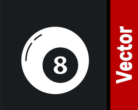White Billiard pool snooker ball icon isolated on black background. Vector Illustration