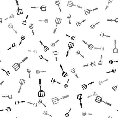 Black Spatula icon isolated seamless pattern on white background. Kitchen spatula icon. BBQ spatula sign. Barbecue and grill tool. Vector Illustration Vettoriali
