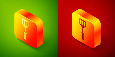 Isometric Spatula icon isolated on green and red background. Kitchen spatula icon. BBQ spatula sign. Barbecue and grill tool. Square button. Vector Illustration Vettoriali