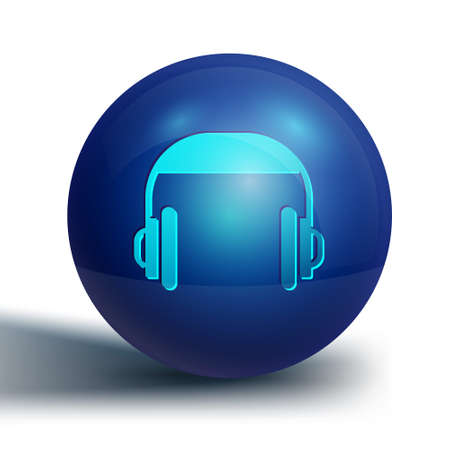 Blue Headphones icon isolated on white background. Support customer service, hotline, call center, faq, maintenance. Blue circle button. Vector Illustration