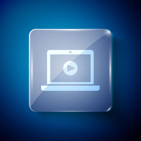 White Online play video icon isolated on blue background. Laptop and film strip with play sign. Square glass panels. Vector Illustration