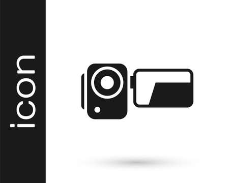 Grey Cinema camera icon isolated on white background. Video camera. Movie sign. Film projector. Vector Illustration