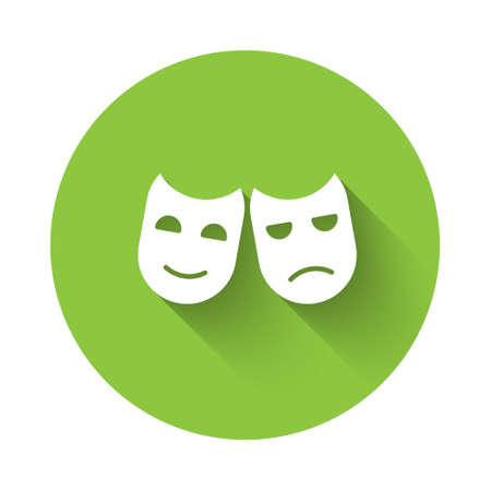White Comedy and tragedy theatrical masks icon isolated with long shadow. Green circle button. Vector Illustration
