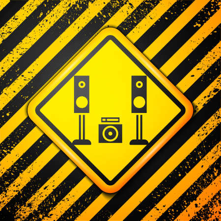 Black Home stereo with two speakers icon isolated on yellow background. Music system. Warning sign. Vector Illustration Ilustrace