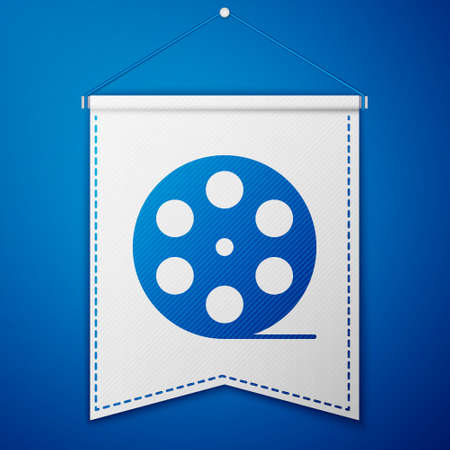 Blue Film reel icon isolated on blue background. White pennant template. Vector Illustration