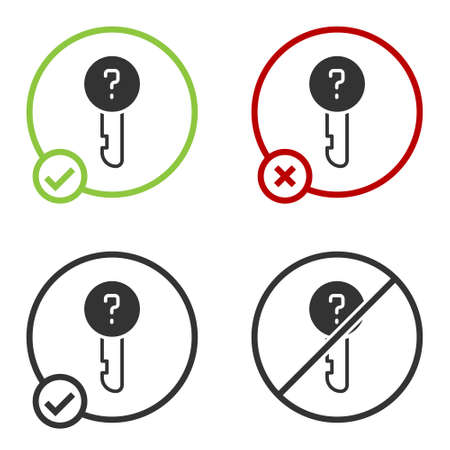 Black Undefined key icon isolated on white background. Circle button. Vector Illustration