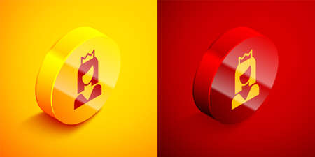 Isometric Princess icon isolated on orange and red background. Circle button. Vector