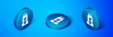 Isometric Princess icon isolated on blue background. Blue circle button. Vector Ilustrace