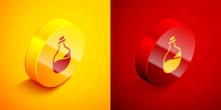 Isometric Old bottle of wine icon isolated on orange and red background. Circle button. Vector