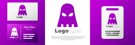 Logotype Executioner mask icon isolated on white background. Hangman, torturer, executor, tormentor, butcher, headsman icon. Logo design template element. Vector