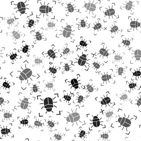 Black System bug concept icon isolated seamless pattern on white background. Code bug concept. Bug in the system. Bug searching. Vector Ilustrace