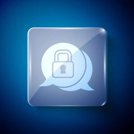 White Cyber security icon isolated on blue background. Closed padlock on digital circuit board. Safety concept. Digital data protection. Square glass panels. Vector