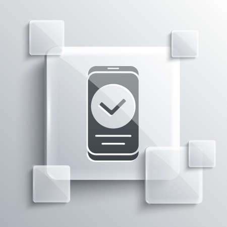 Grey Smartphone, mobile phone icon isolated on grey background. Square glass panels. Vector Ilustrace
