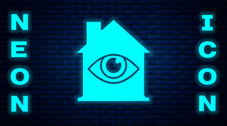 Glowing neon House with eye scan icon isolated on brick wall background. Scanning eye. Security check symbol. Cyber eye sign. Vector